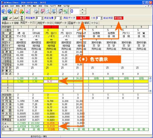 操作画面(検測定値の結果画面)